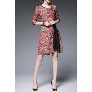 Print Three Quarter Sleeve Round Neck Dress