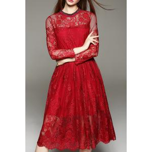 Lace Tea Length A Line Party Swing Dress - Wine Red - M