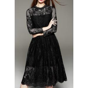 Lace Tea Length A Line Party Swing Dress - Black - M
