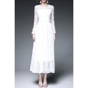 Sheer Swing Tea Length Wedding Guest Dress