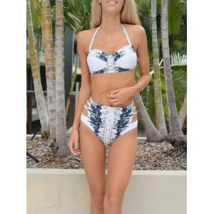 Sexy High Waist Halter Printed Bikini Set For Women