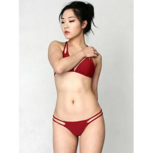 Stylish Halter Solid Color Lace Up Women's Bikini Set - WINE RED L