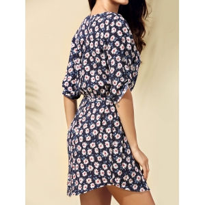 Fashionable Floral Print Tie Belt Dress For Women -