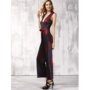 Stylish Plunging Neck Sleeveless Printed Tie Belt Jumpsuit For Women -