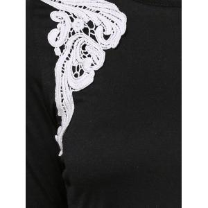 Stylish Round Collar Long Sleeve Patch Lace Design Dress For Women - BLACK S