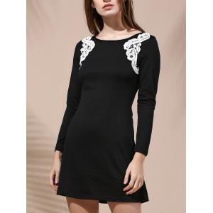 Stylish Round Collar Long Sleeve Patch Lace Design Dress For Women - Black - L