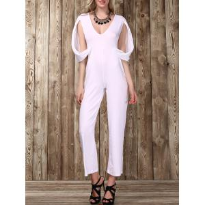 Stylish Plunging Neckline Split Sleeve Solid Color Jumpsuit For Women