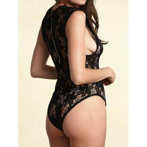 Alluring Black See-Through Cut Out Lace Teddy For Women -