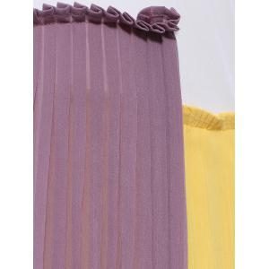 Stylish Round Neck Sleeveless Hit Color Pleated Dress For Women -