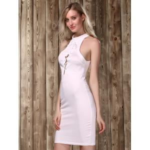 Stylish Stand Collar Sleeveless Lace-Up Bodycon Dress For Women -