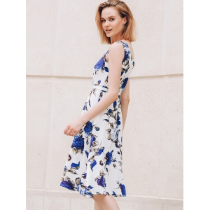 Chic Round Collar Sleeveless Floral Print Slimming Women's Dress -