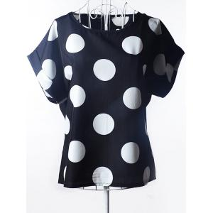 Simple Plus Size Scoop Neck Polka Dot Pattern Short Sleeves Blouse For Women - Black - 2xl
