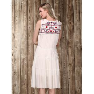 Ethnic Scoop Neck Sleeveless Embroidered Flare Dress For Women -