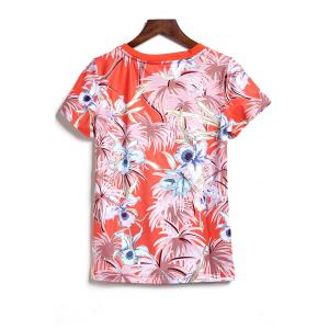 Round Collar Printed T-Shirt and Shorts -