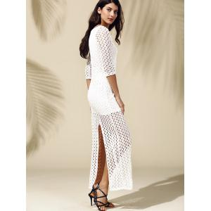Slit Fitted Long Tight Maxi Crochet Dress - WHITE M