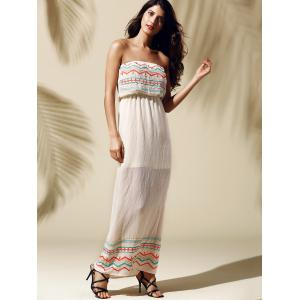 Printed Slit Strapless Maxi Dress - YELLOWISH PINK S