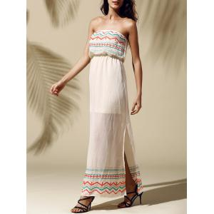 Printed Slit Strapless Maxi Dress - Yellowish Pink - S