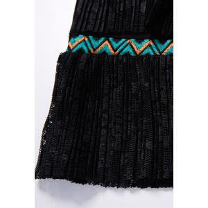 Embroidered Tiered Lace Black Dress -