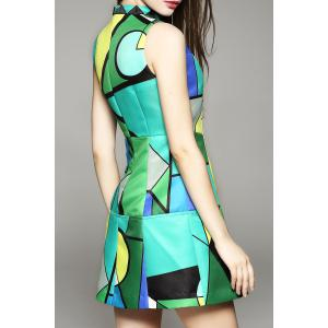 Sleeveless Geometric Print Mini Dress -