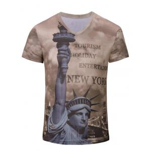 3D Statue of Liberty Printed V Neck Tee