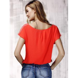 Stylish V-Neck Embroidered Short Sleeve Drawsting Crop Top For Women -