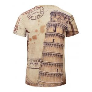 Leaning Tower of Pisa Printed V Neck Tee -