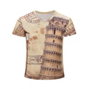 Leaning Tower of Pisa Printed V Neck Tee - Earthy - 3xl
