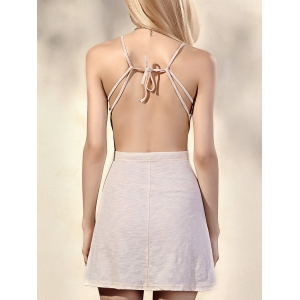 Trendy Spaghetti Straps Sleeveless Backless Solid Color Women's Dress -