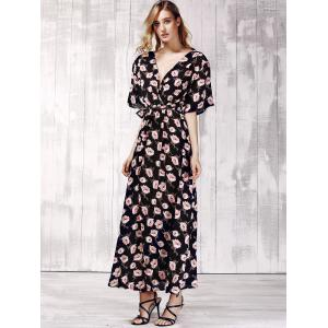 Stylish Plunging Neck Short Sleeve Floral Print Maxi Dress For Women -