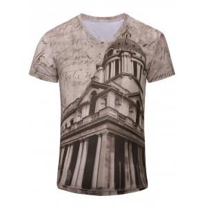 Men's Trendy 3D Building Printed Short Sleeves T-Shirt