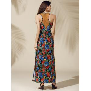 Attractive High Slit Floral Print Maxi Dress For Women -