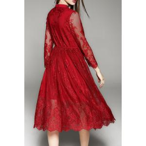 Lace Tea Length A Line Party Swing Dress - WINE RED XL