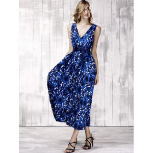 Stylish Plunging Neck Sleeveless Floral Print Maxi Dress For Women -