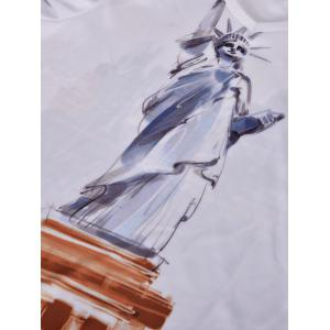 Statue of Liberty Printed V Neck Tee - WHITE S