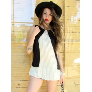 Stylish Scoop Neck Sleeveless Double Layered Blouse For Women -