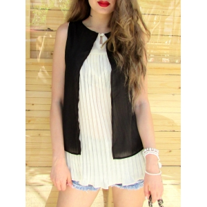 Stylish Scoop Neck Sleeveless Double Layered Blouse For Women