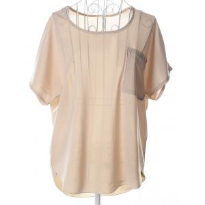 Casual Plus Size Scoop Neck See-Through Short Sleeves Blouse For Women