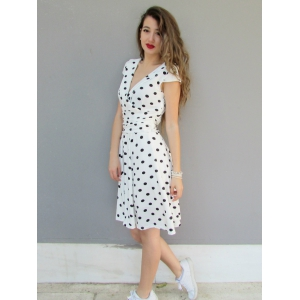 Sexy Career High Waist Short Sleeve Polka Dot Skater Dress - WHITE L