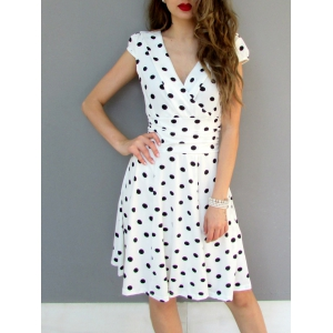 Sexy Career High Waist Short Sleeve Polka Dot Skater Dress - White - 2xl