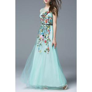 Flower Embroidered Maxi Evening Tulle Dress -
