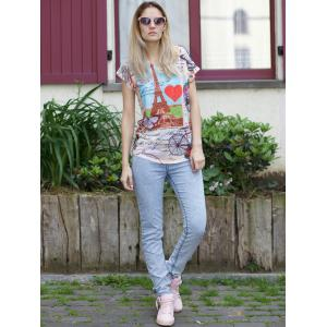 Casual Scoop Neck Tower Print Short Sleeve T-Shirt For Women -