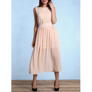Open Back Round Neck Sleeveless Bridesmaid Dress - Apricot - M