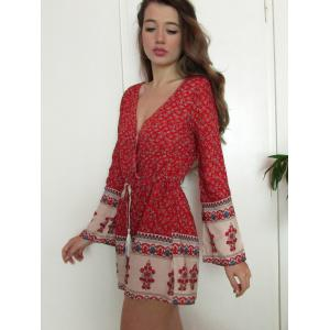 Fashion Plunging Neck Long Sleeve Printed Drawstring Women's Romper -