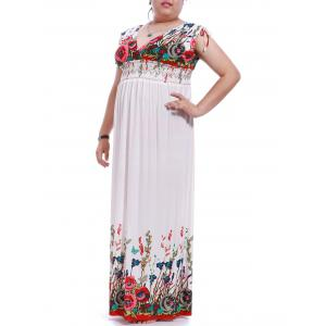 Bohemian Style Plus Size Plunging Neck Sleeveless Flower Print Dress For Women -