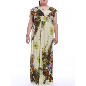 Plus Size V-Neck Sleeveless Print Maxi Dress