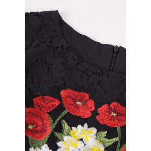 Flower Embroidered Bodycon Evening Dress -