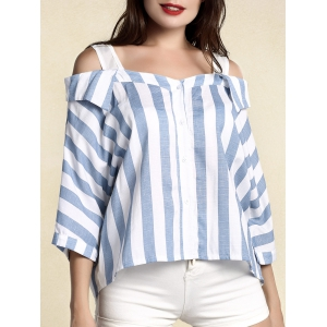 Stylish Women's Striped 3/4 Sleeve Cut Out Blouse