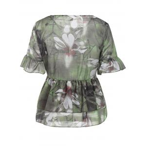 Stylish Flounced Flare Sleeve Floral Print Women's Blouse -