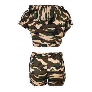Hooded Camo Crop Top with Shorts -