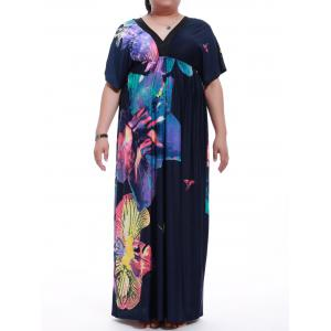 Plus Size Short Sleeve Print Maxi Dress